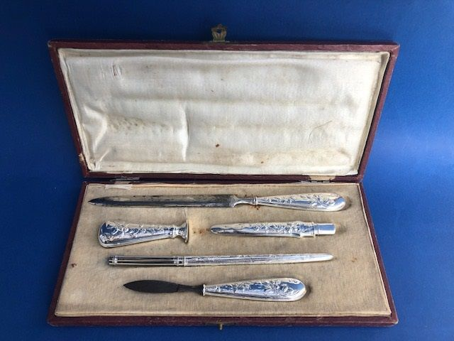 """Office set for sealing """"lacrados"""" old (5) - and the ends of open letters in steel and silver, Silverplate - Se desconoce - Spain - 1875-1900"""