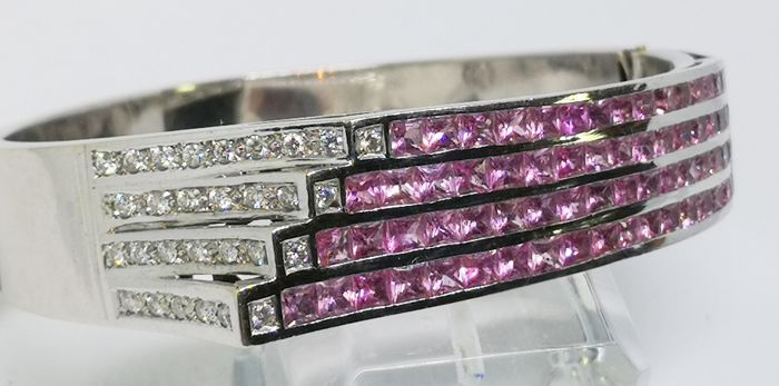 18 kt. White gold - Bracelet pink sapphires and diamonds