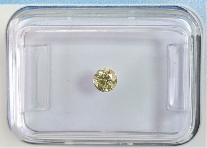 Diamante - 0.18 ct - Brilhante - Fancy Light Greyish Yellow - I1, IGI Antwerp - No Reserve Price