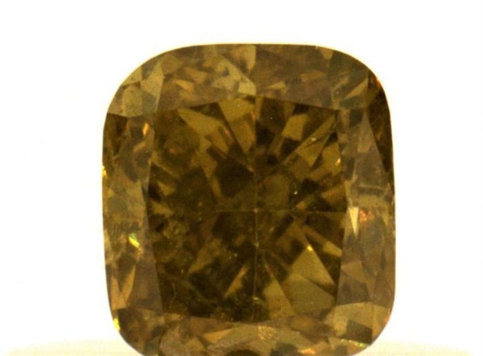 Diamante - 0.39 ct - Almofada - fancy deep brown yellow - I1, IGI Antwerp - No Reserve Price