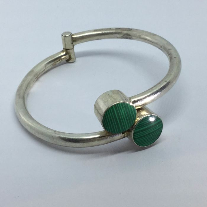 925 Zilver - Bangle Malachiet