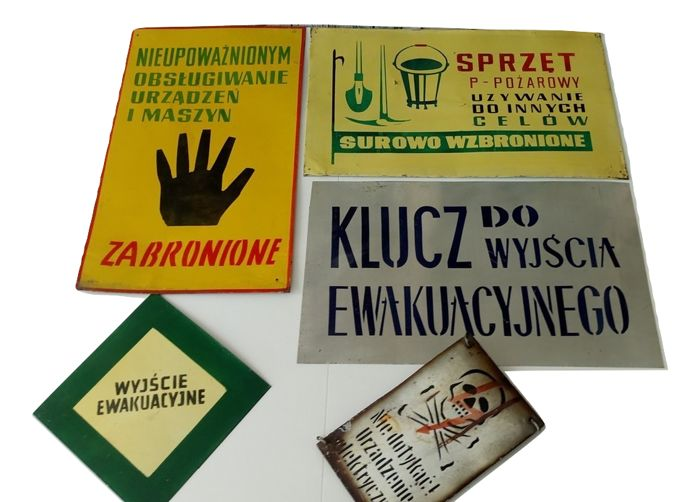 Authentic Information and Warnings Signs from Communism Time (5) - Enamel,  Sheet Metal - Catawiki