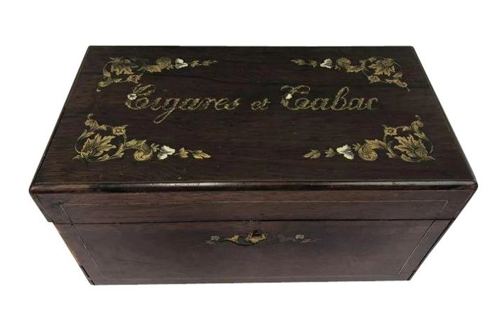 Cigares & Tabac box  - Been, Hout, Messing - 19e eeuw