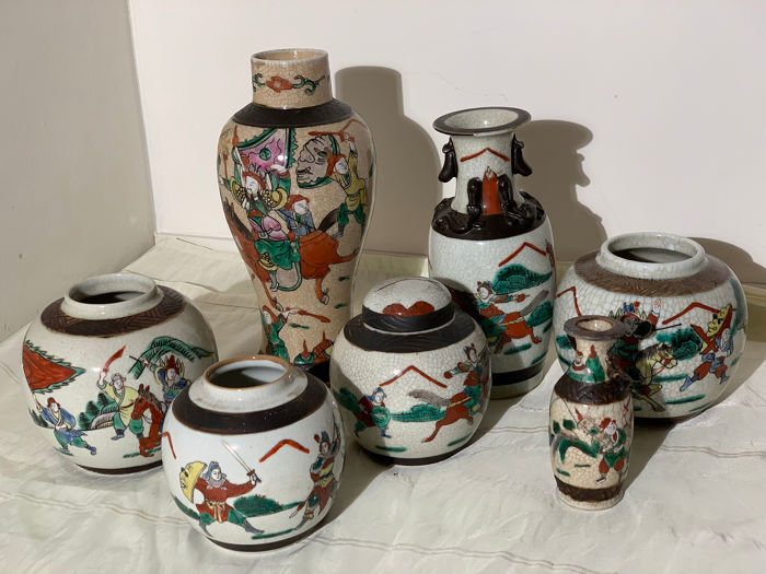 Vases (7) - Nanking - Ceramic - China - 20th century