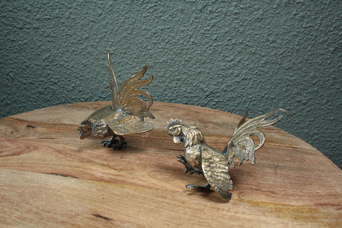 chicken and rooster table decoration - metal, Silverplate - France