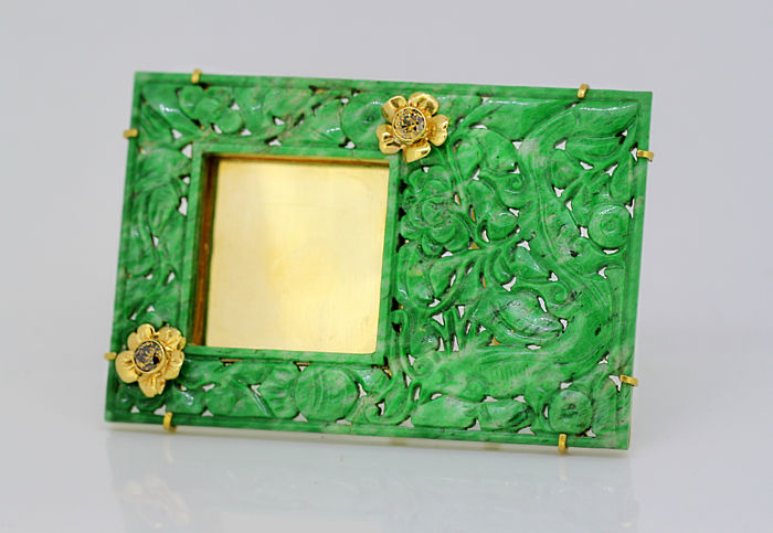 Picture Frame - .750 (18 kt) gold, Jade - Art Deco 18K Gold - Brown Diamonds - Natural Jade - France - 1920