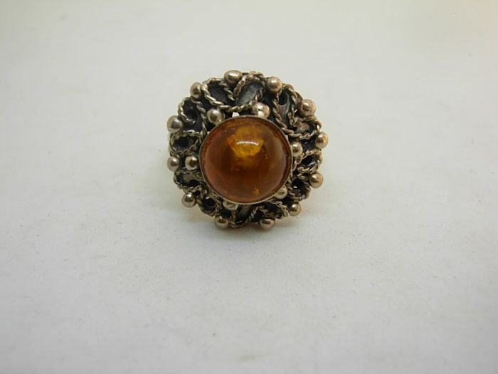 800 Zilver - Ring amber