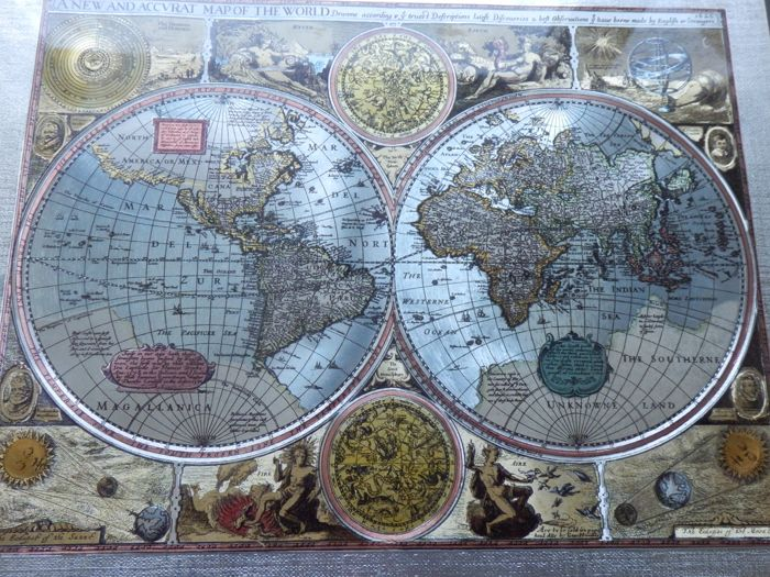 A New And Accvrat Map Of The World 1626.New And Accurate Map Of The World 1626 Silver Foil Catawiki