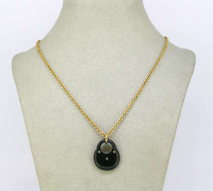 12k Yellow gold - Necklace Diamond - Bloodstone