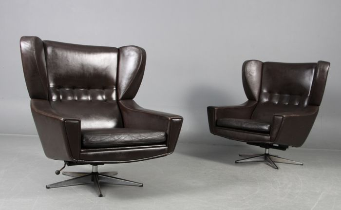 2 Lounge Fauteuils.Sven Skipper 1960 S Set Of 2 Lounge Armchairs In Brown Leather Catawiki