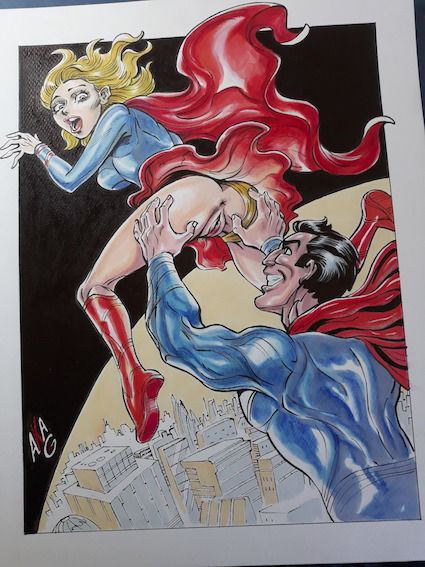 """Superman - original artwork """"Flying Cousine"""" - Loose page - First edition - (2018)"""