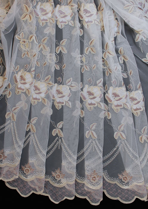 tulle swarovski curtain french style rebrodé - height 3.10m width 4.50m curtain fabric in rebrodé tulle in French style - tulle, cotton blend, tissu, textile