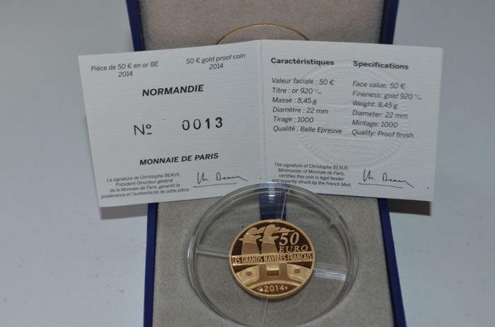 France - 50 Euro 2014 'Normandie' - Or