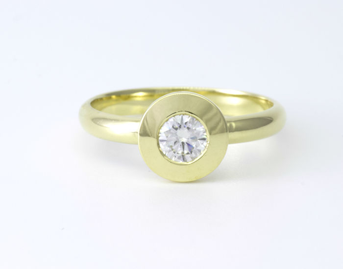 14 quilates Oro amarillo - Anillo 0.49 ct Diamante