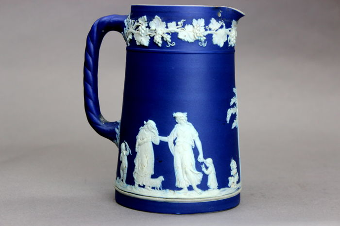 Antique Wedgwood Blue and white jasperware water pitcher