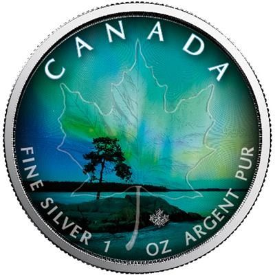 Canada - 5 Dollar 2018 Northern Lights #1-Québec - 1 Oz (Colorida) - Zilver