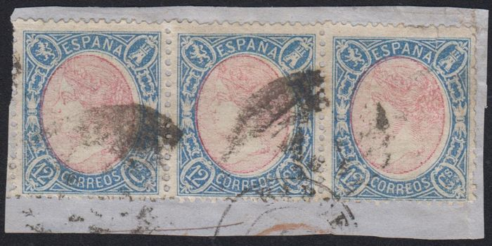Spain 1865 - Isabella II  12 cuartos blue and red  Strip of 3 stamps