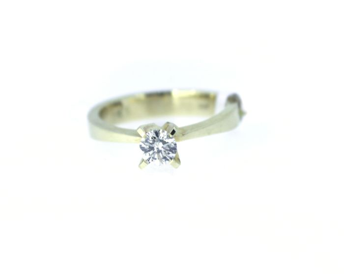 Round Natural Diamond - 14 quilates Oro amarillo - Anillo - 0.28 ct Diamante