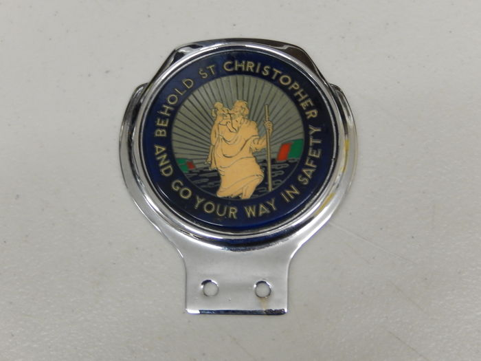 odznaka - Vintage Renamel St Christopher Car Badge Emblem - 1970
