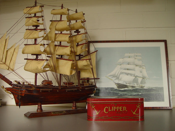 modelboot CUTTY SARK, litho, trommel  (3) - diverse, hout, metaal, glas