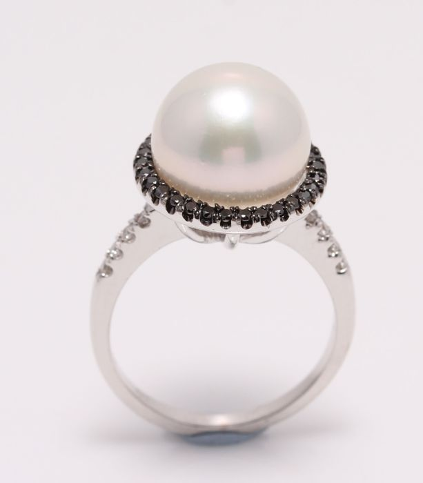 NO RESERVE PRICE - 18 kt. White Gold - 11.2mm Cultured Pearl - Ring - 0.37 ct