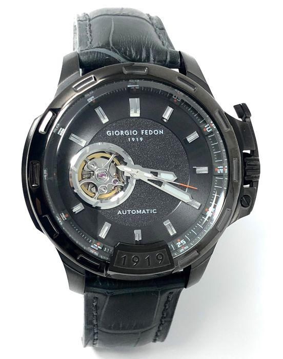 Giorgio Fedon 1919 - Automatic Timeless IV Black PVD Grey Leather strap  - GFBG004 - Heren - Brand New