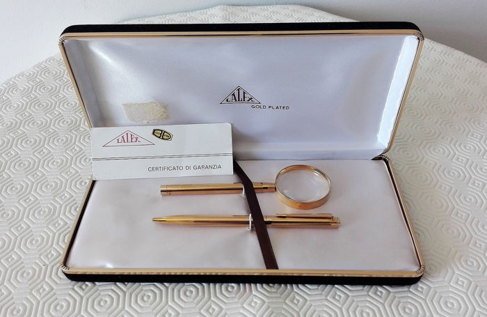 LALEX - Pen with magnifying glass-gold plated