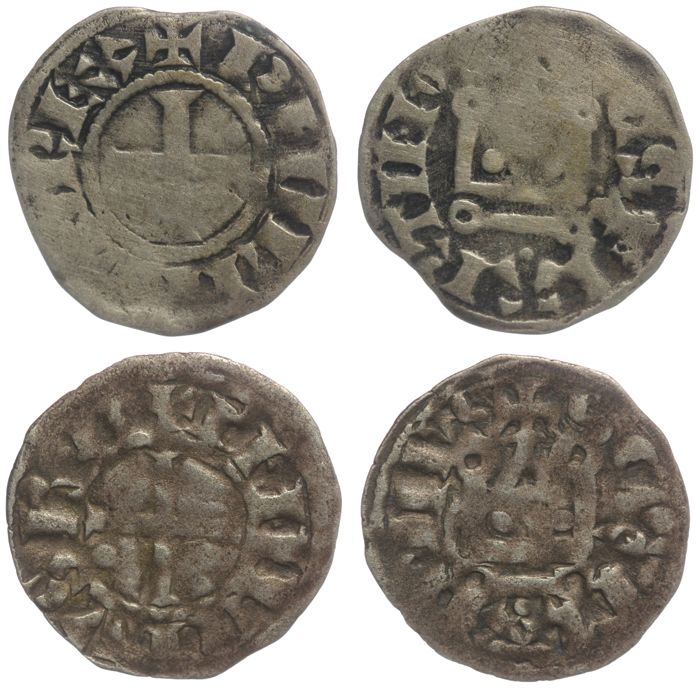 Francia - Philippe II (1180-1223) - Lot of 2 Deniers Tournois - Argento