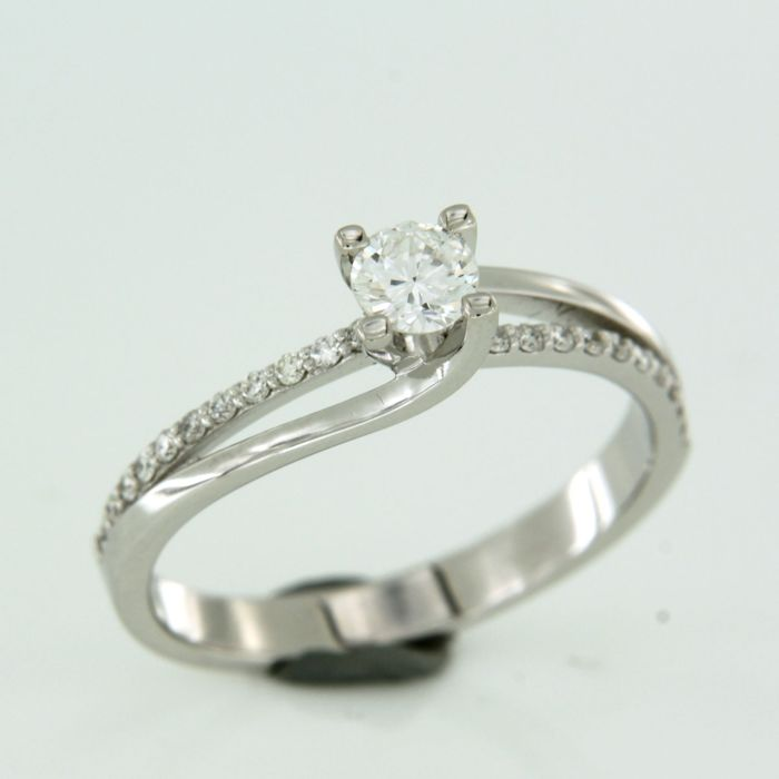 18 karaat Witgoud - Ring - 0.42 ct Diamant