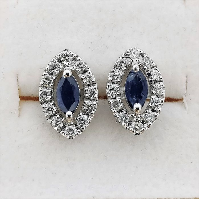 18 kt. White gold - Earrings - 0.61 ct Sapphire - Diamonds