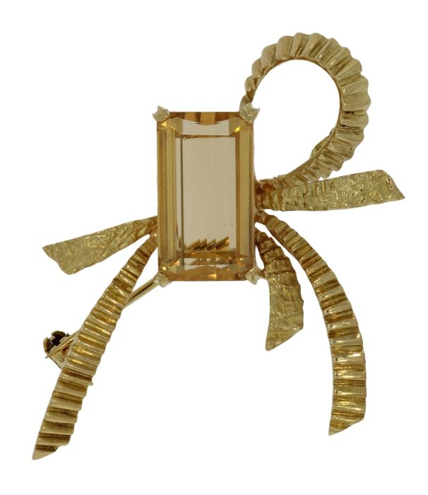 18 kt. Yellow gold - Brooch Citrine