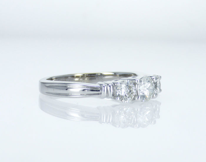18 kt. White gold - Ring - Clarity enhanced 1.03 ct Diamond - Diamonds