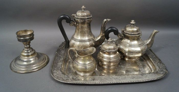 Tea and coffee service with tray and candlestick - Silverplate