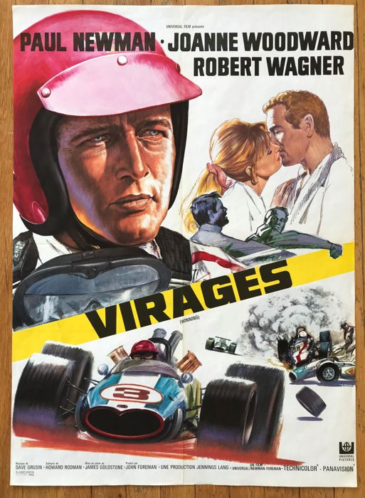 """Poster - Poster movie """"Virages"""" 1969 original French version of """"Winning"""" A - 1968-1968"""