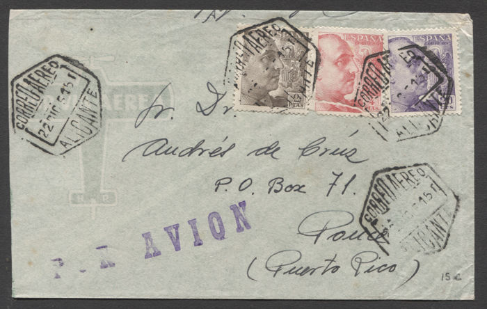 Spain - 11 Letters, 2 postcards and 2 covers from the Civil War and the post-war period