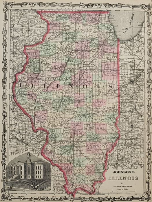 América del Norte, Illinois; Johnson & Browning - Johnson's Illinois, by Johnson & Browning - 1862
