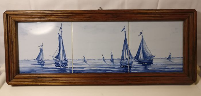 Tile panel of fishing boats - Hout, Keramiek