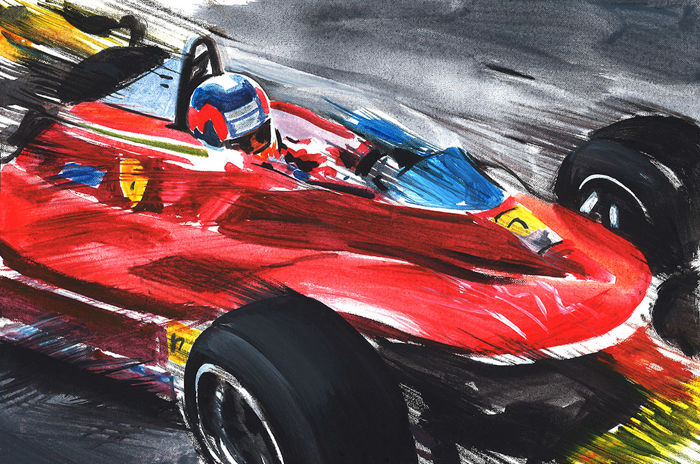 ORIGINAL Painting - Gilles Villeneuve Ferrari 312 T4 1979 - 2019 (1 items)