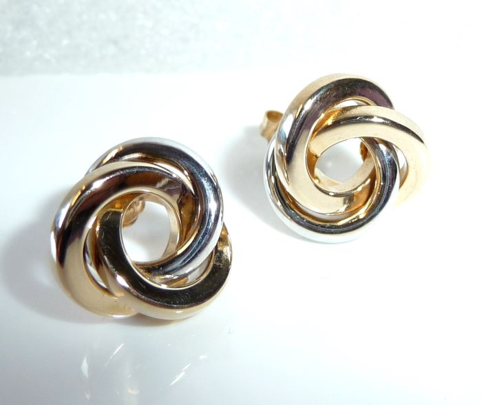 Krone als Punze - 14 kt Weißgold - Earrings knot design