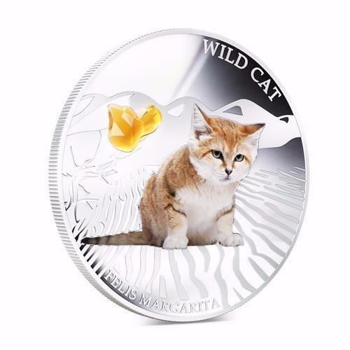 Fiji - 2 Dollar 2013 - Wild Cat -  Felis Margarita - with Gem Stone - 1 Oz - Silver