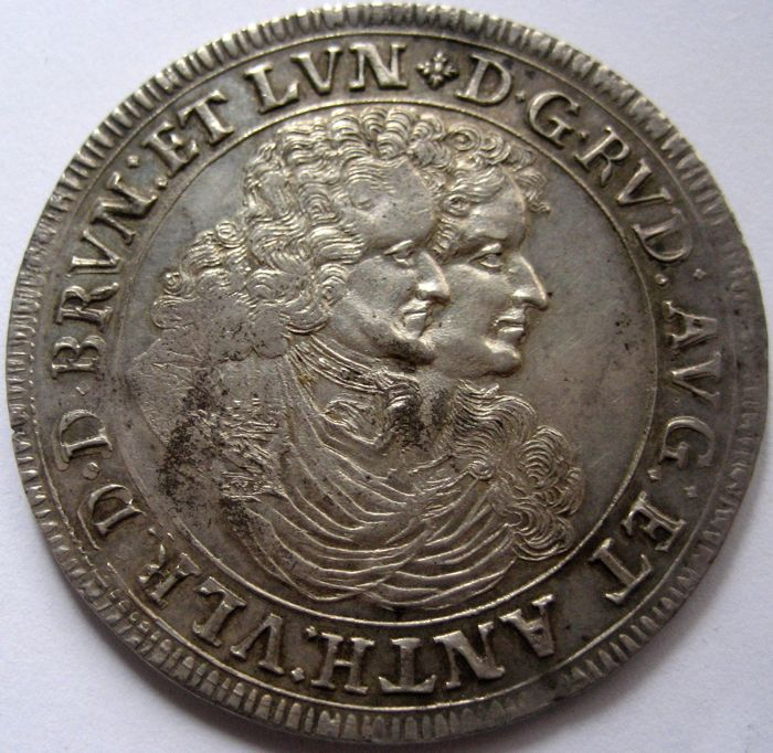 Germany - Brunswick-Wolfenbüttel - Rudolf August and Anton Ulrich 1685-1704 Thaler 1696 RB (selten)  - Plata