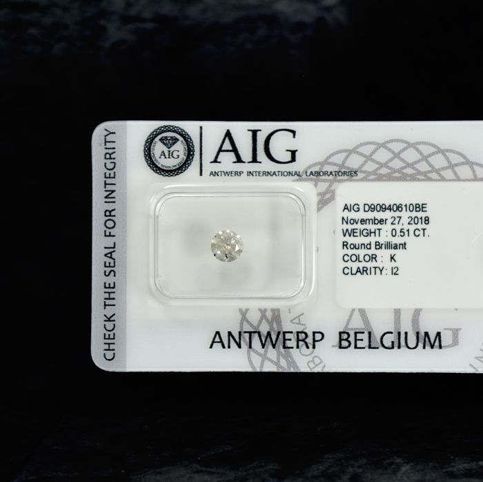 Diamante - 0.51 ct - Brillante - K - I2 - NO RESERVE PRICE