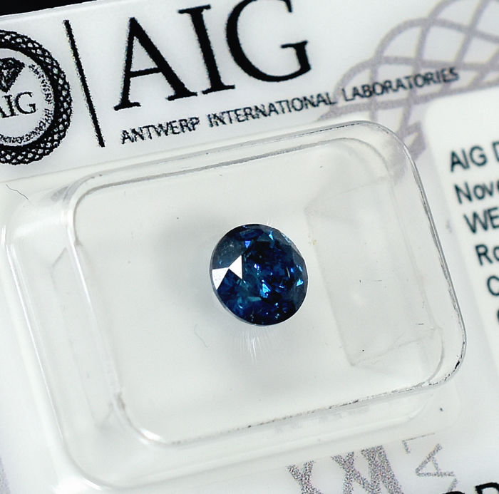 Diamant - 1.00 ct - Brillant - Fancy Deep Blue - I2 - NO RESERVE PRICE - VG/VG/VG