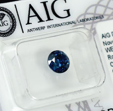 Diamant - 1.00 ct - Brilliant - Fancy Deep Blue - I2 - NO RESERVE PRICE - VG/VG/VG