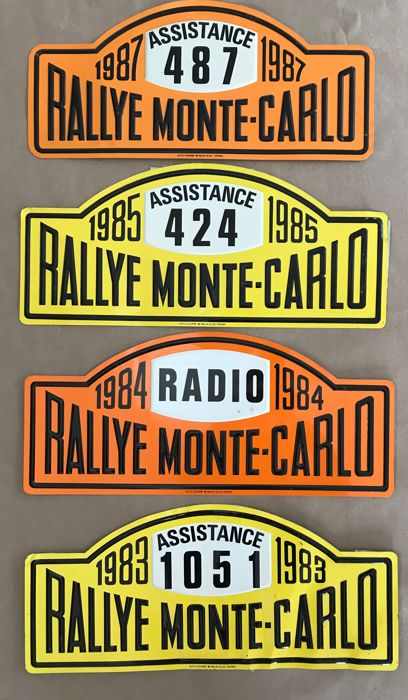 Nummerbord - 4 Rally plate Rallye Monte-Carlo Monaco France 1983 Assistance 1984 Radio 1985 and 1987 Assistance  - 1983-1987