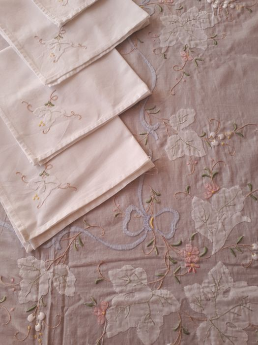 Beautiful hand-embroidered tablecloth