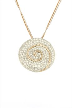 Ponte vecchio gioielli - Made in Italy - 18 carats Or blanc, Or rose - Collier et pendentif - 10.00 ct diamants