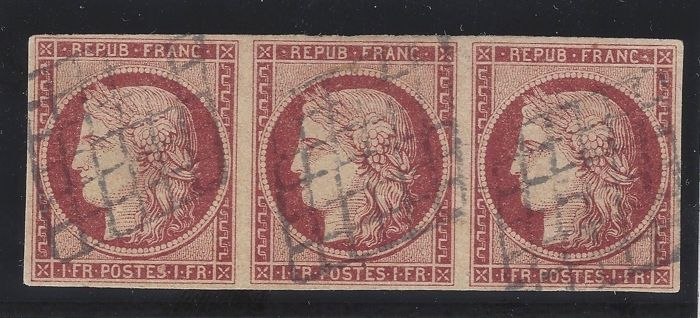 France 1849 - Strip of 3 Yvert No. 6, TB quality, signed x 2 + certificate - Maury 6B