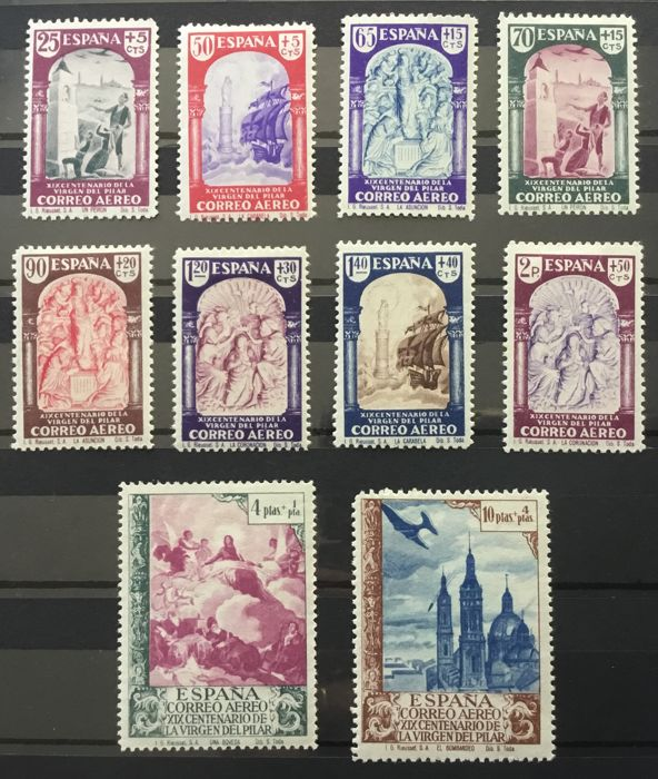 Spain 1940 - 19th Centennial of the apparition of Our Lady of the Pillar to Zaragoza. Airmail. - Edifil 904/13