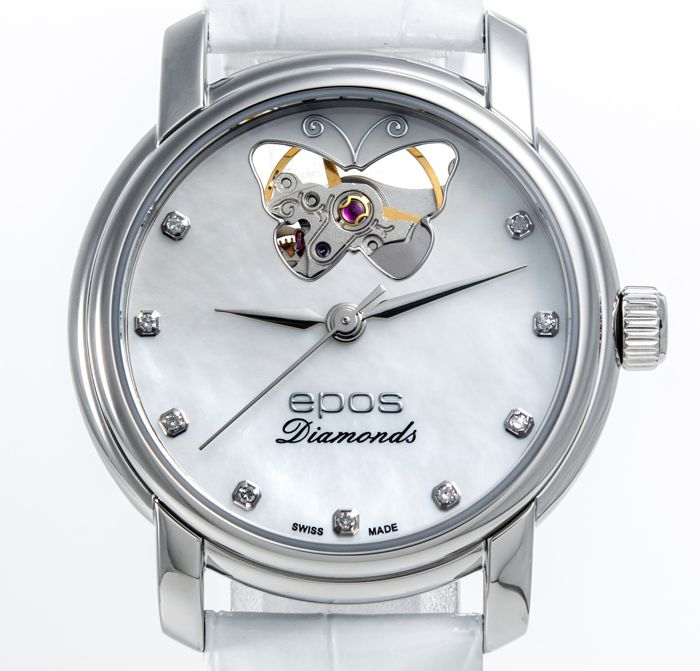 Epos - White Mother of pearl with open heart & diamonds - 4314/F-OH-BF-WHT - 女士 - 2011至今